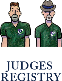 Marching Roundtable Judges Academy Judges Registry Tim and Joe Cartoon Logo