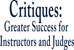 Judges Academy Critiques Greater Success for Instructors and Judges Text